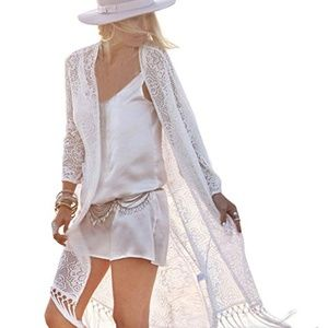 ⚡NWOT Womens Boho Lace Kimono Bikini Cover up